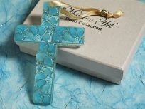 Murano Art Deco Blue Cross Favour
